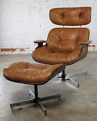 Mid Century Modern Plycraft Eames-Style Lounge Chair and Ottoman