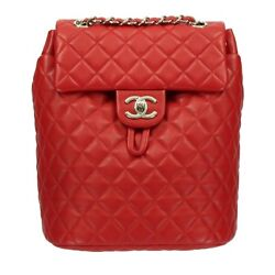 CHANEL Quilted Lambskin Backpack Rucksack Day Shoulder Bag Red Used A91121 Rare