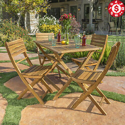 OUTDOOR Patio Furniture Dining Set 5pc Garden Wooden Furniture Folding Chairs
