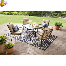 Patio Dining Set 5 Piece Garden Glass Top Table And 4 Chairs With Tan Cushion