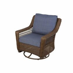 All Weather Wicker Patio Swivel Rocking Chair Blue Cushion Outdoor Pool Sale New