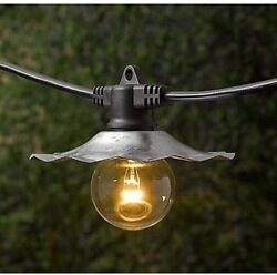 35-foot European Cafe Lights With Galvanized Shades Outdoor Patio String Lights
