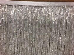 By the Yard 6quot; Glass WHITE AB BUGLE Seed Bead Beaded Fringe Lamp Costume Trim $15.99