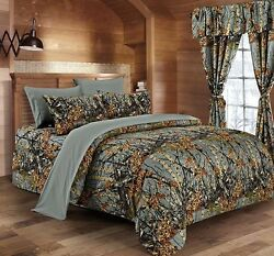 22 PC GRAY CAMO!! QUEEN SIZE SET!! COMFORTER SHEET CURTAIN CAMOUFLAGE BEDDING