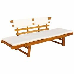 Outdoor Sunbed Garden Bench w Cushion Acacia Wood Finished Patio Yard Lawn Seat
