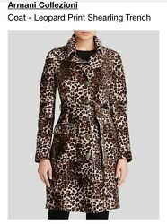 ARMANI COLLEZIONI COAT LEOPARD PRINT SHEARLING TRENCH  Fully Lined SIZE 2 NEW