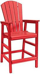 Recycled Plastic Dining Adirondack Style Pub Arm Chair Red 18L X 18W X 48H