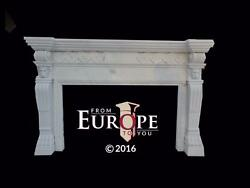 BEAUTIFUL HAND CARVED MARBLE ESTATE EUROPEAN DESIGN FIREPLACE MANTEL - BMA34