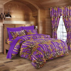 17 PC SET!! PURPLE CAMO BEDDING QUEEN SIZE COMFORTER SHEET CURTAIN CAMOUFLAGE