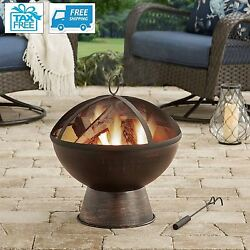Outdoor Wood Burning Fire Pit Iron Bowl Patio Fireplace Backyard Bronze Cover