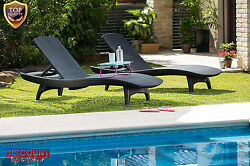 Patio Chaise Lounge Set Rattan Furniture Chairs Adjustable Outdoor Pool Garden