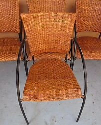Set of 4 High End Rattan Wicker Iron Frame Patio Dining Armchairs