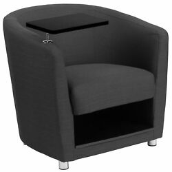 Charcoal Gray Guest Chair with Tablet Arm Chrome Legs and Under Seat Storage