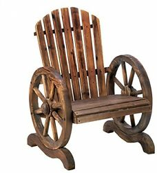 Old Country Wood Wagon Wheel Adirondack Chair Outdoor Furniture Garden Decor New