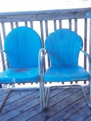 Vintage BLUE Retro Metal Lawn Chairs Patio Garden Poolside(2) PROJECT RESTORE