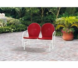 Outdoor Patio Seating Retro Metal Glider Steel Frame Backyard Garden Chairs Red