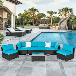 7PC Patio Sofa and Table Set Outdoor Indoor Sectional Garden Furniture Lawn Deck