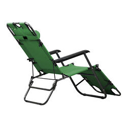 Metal Folding Chaise Lounge Chair Patio Outdoor Pool Lawn Recliner 178cm W9W6
