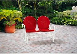 Red Metal Glider Retro Patio Seats Bench Furniture Yard Garden Chair Durable New