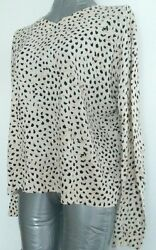 COS thin knit jumper size M --MINT-- 100% Cotton back buttons printed ecru