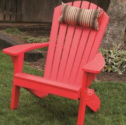 Red Porch Chair Faux Wood Adirondack Weather Resistant Easy Care Handcrafted