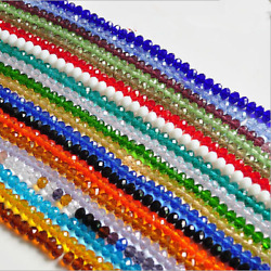 New 3mm4mm6mm8mm10mm Rondelle Faceted Crystal Glass Spacer Loose Beads