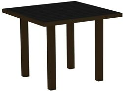 POLYWOOD Euro Textured Bronze 36 in. Square Patio Dining Table with Black Top