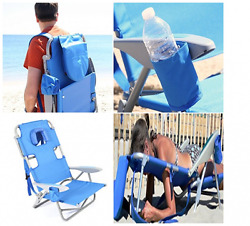 Beach Adjustable Chair w Backpack Straps Cup Holder Patented Face and Arm Slots