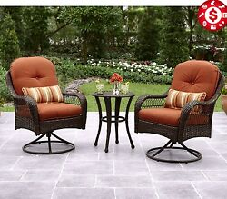 Outdoor Bistro Set Patio Garden Furniture Wicker Table and Swivel Chairs 3 Piece