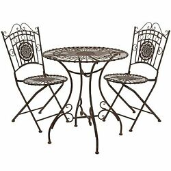 Rustic Metal Garden Chair and Table Bistro 3pc Porch Set Vintage Antique Style