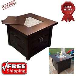 Premium Gas Outdoor Fire Pit Table With Hammered Antique Bronze Finish Cover