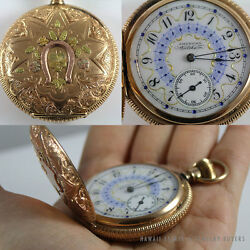 ANTIQUE HUNTER'S CASE AMERICAN WALTHAM POCKET WATCH & GOLD SLIDE-PENDANT CHAIN