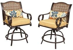 Patio High Dining Chairs Set With Cushion Swivel Yard Porch Deck Garden Outdoor