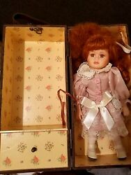 Antique Porcelain Doll with Trunk and Extra Dress $200.00