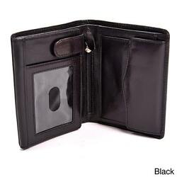 Mens Italian Bull Leather Executive Trifold Wallet with ID Window and Coin Pouch