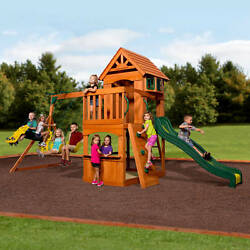 Playground Outdoor Kids Backyard Swing Set All Wood Heavy Duty Children Play New
