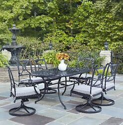 7 Piece Patio Furniture Dining Set Metal Table Swivel Chair Garden Outdoor