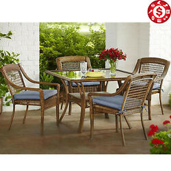 5 PCS All-Weather Wicker Patio Dining Set Blue Cushions Modern Outdoor Furniture