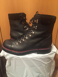 (1) Gucci Men's Black Leather Boots Shoes Merino Lining DHR20 - Size 12 - $1050