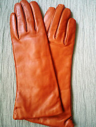 NEW LONG LEATHER GLOVES SZ 7.5 CASHMERE LINED MARTELLI FLORENCE. BROWN RUST