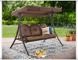 Outdoor Porch Swing 3 Seat Daybed With Canopy Patio Steel Furniture Convertible