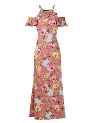 FashionOutfit Beach Wedding Guest Floral Ruffle Sleeve Maxi Dress Made in USA $8.99
