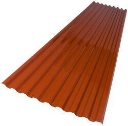 Polycarbonate Roof Panel Suntuf 26 in x 6 ft. Red Brick Corrugated for Strength