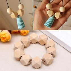 10pcs Wooden Geometric Natural Unfinished Beads For Jewelry Necklace Making