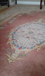 Rose decorated 8x11 Capel rug all wool used excellent condition Indian beautiful