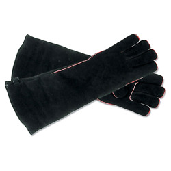 Fireplace & Hearth Gloves Hand Arm Protection Safety Work Fit Long Mitten Black