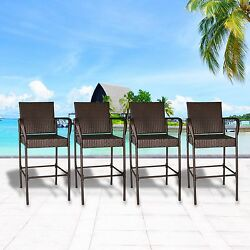 Set of 4 Wicker Bar Stool high Chair Outdoor Patio Furniture Garden Dining Brown