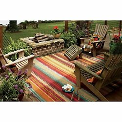 Outdoor Area Rugs For Patios 5 x 8 Abstract Large Waterproof Accent Carpet NEW