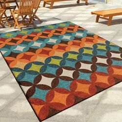 Outdoor Area Rugs For Patios 5 x 8 Geometric Large Waterproof Accent Carpet