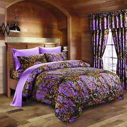 PURPLE CAMO BEDDING 17 FULL SIZE SET COMFORTER SHEET CURTAIN CAMOUFLAGE VIOLET